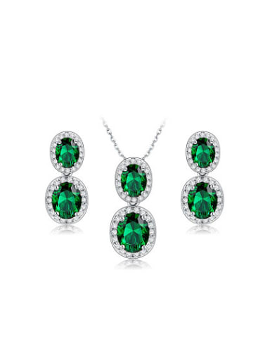 Green Oval Shaped AAA Zircon Two Pieces Jewelry Set