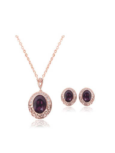 Alloy Rose Gold Plated Vintage style Stone Oval-shaped Two Pieces Jewelry Set
