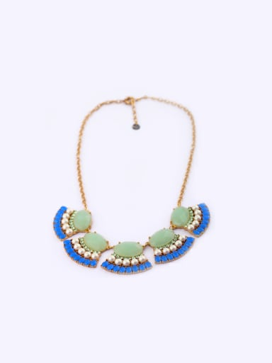 2018 Artificial Stones Alloy Sweater Necklace