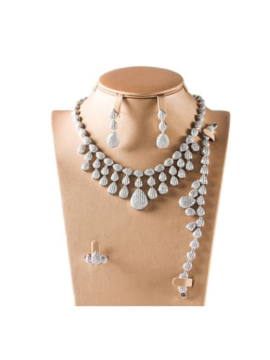 5A Cubic Zircon Water Drop shaped Four Pieces Jewelry Set