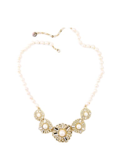 Luxury Artificial Pearls Zircon Short Alloy Necklace