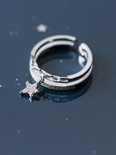 Exquisite Double Layer Star Shaped Rhinestones S925 Silver Ring