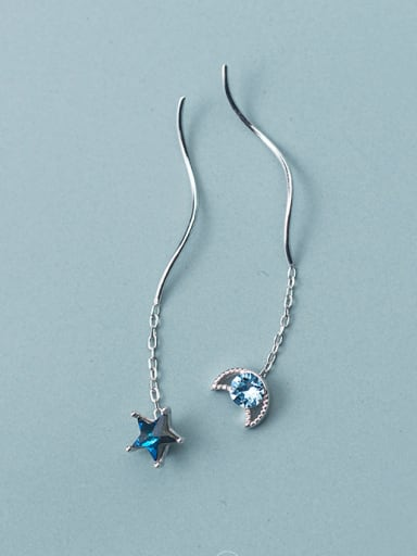 925 Sterling Silver With Platinum Plated Simplistic Star Moon Threader Earrings