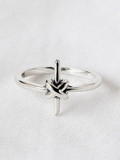 Personalized Little Cross Knot Silver Opening Ring