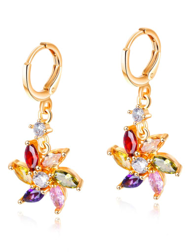 Copper With Gold Plated Personality Water droplet shaped Flower Earrings
