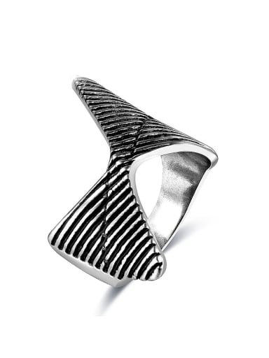 Vintage Multi Triangle Shaped Silver Plated Ring
