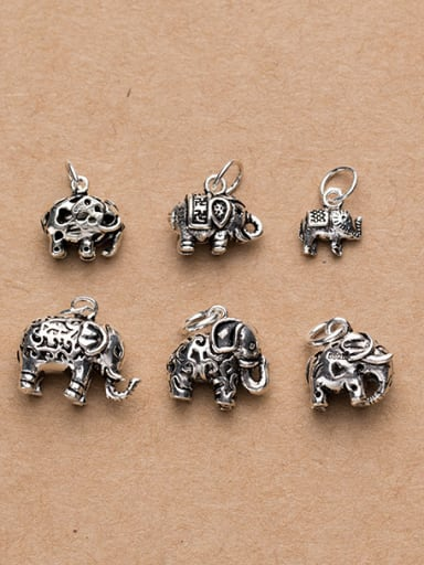Thai Silver With Antique Silver Plated Vintage Animal Elephant Charms