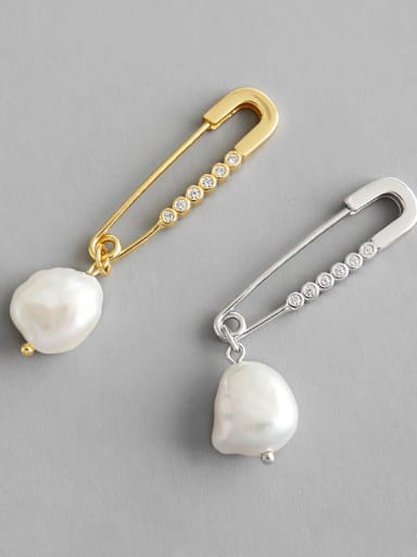 925 Sterling Silver With  Artificial Pearl Personality Pin Drop Earrings