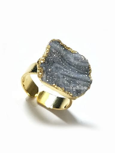Copper Geometrical Agate Opening Ring