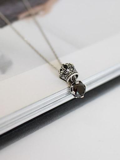 Retro style Black Zircon Little Crown Silver Necklace