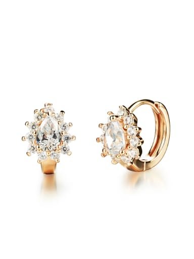 Fashion Zircon Champagne Gold Plated Earrings