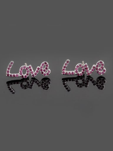 Love Letter Red Corundum 925 Sterling Silver Needle Platinum Plated Fashion stud Earring