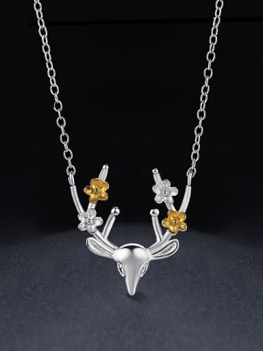 Simple Little Deer Pendant 925 Sterling Silver Necklace
