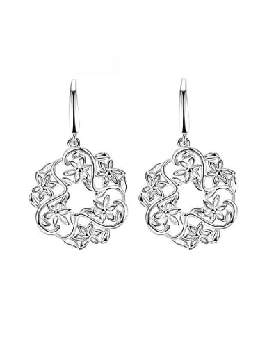 Delicate Flower Shaped Silver Plated Drop Earrings