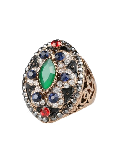 Retro Exaggerated style Resin stones Cubic Crystals Ring
