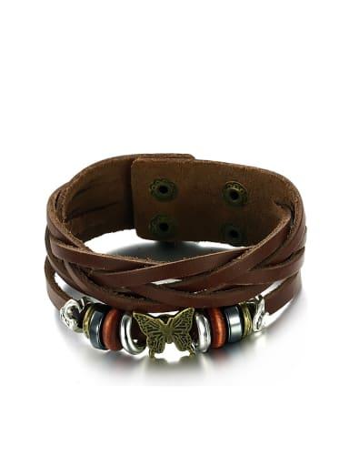 Retro style Multi-band Brown PU Men Bracelet