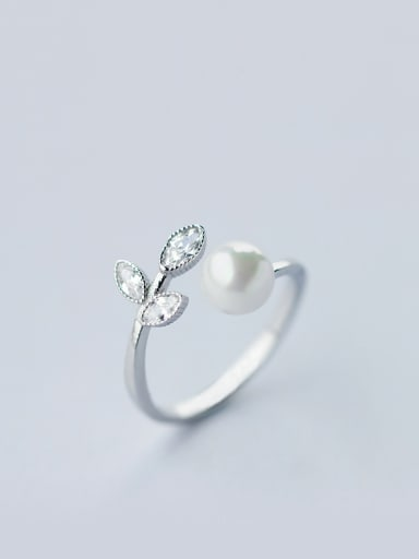 S925 Silver Pearl Bay Leaves Sweet Opening Ring
