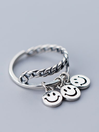 925 Sterling Silver  Personality smile Face Rings