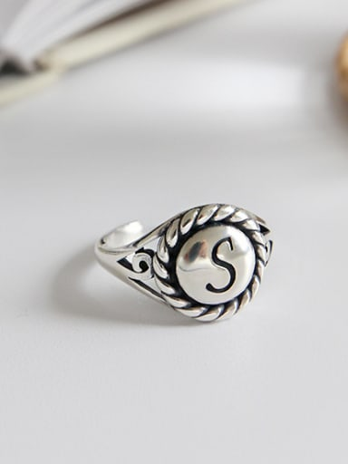 925 Sterling Silver With Antique Gold Plated letter S Rings