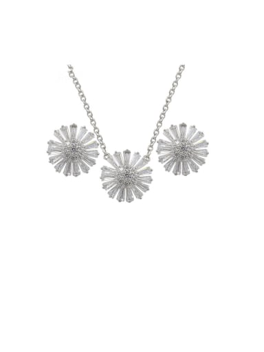 Copper With Cubic Zirconia Delicate Flower Earrings And Necklaces 2 Piece Jewelry Set
