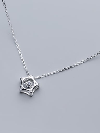 925 Sterling Silver With Silver Plated Personality Hollow Star Necklaces