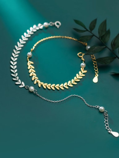 925 Sterling Silver With  Artificial Pearl  Simplistic Leaf Bracelets