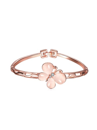 Rose Gold Butterfly Shaped Zircon Bangle