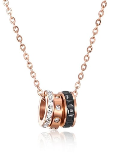 Stainless Steel With Rose Gold Plated Trendy Running circles Necklaces