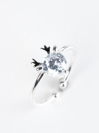 Fashion Cubic Zircon Little Deer Antler 925 Silver Opening Ring