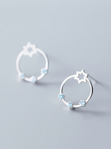 925 Sterling Silver With Silver Plated Simplistic Planetary ring hexagonal star Stud Earrings