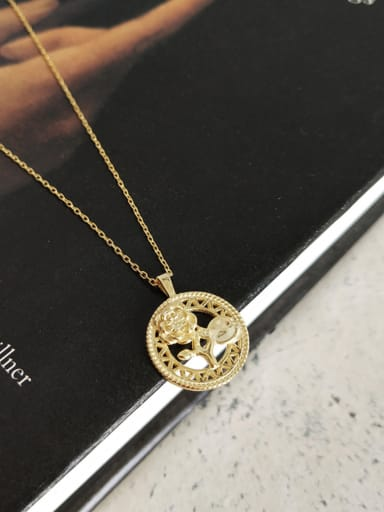 Sterling silver 18k-gold plated rose round necklace
