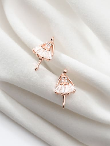 925 Sterling Silver With Rose Gold Plated Cute Angel Stud Earrings