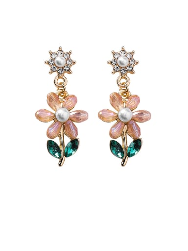 Alloy With Glass stone Fashion Flower Drop Earrings