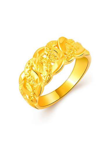 Women Frosted 24K Gold Plated Copper Ring