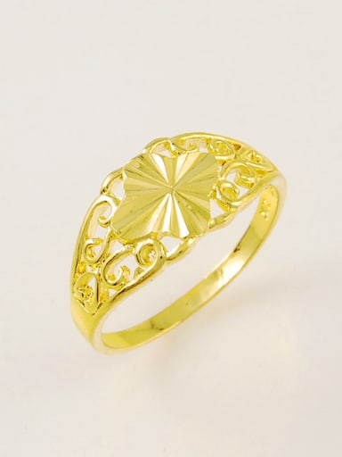 All-match 24K Gold Plated Flower Shaped Copper Ring