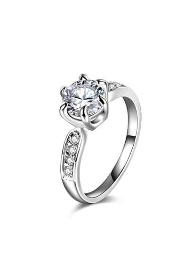 Elegant White Gold Plated Round Zircon Ring