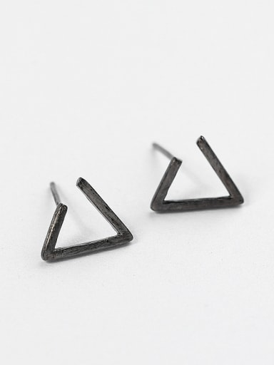 Simple Triangle-shaped Silver Stud Earrings
