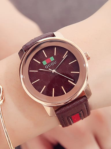GUOU Brand Simple Round Mechanical Watch