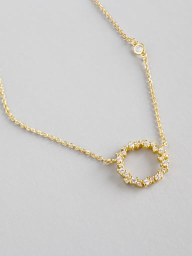 Sterling Silver Mini zircon hollowed Necklace