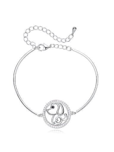 Simple Hollow Round Little Dog 925 Silver Bracelet