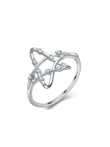 Hollow Star Micro Pave Simple Style Ring