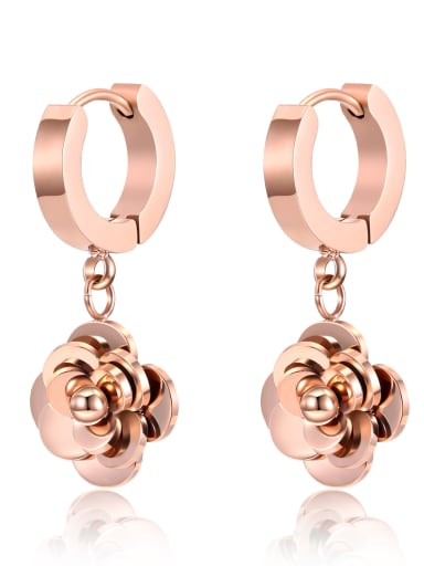 Stainless Steel With Rose Gold Plated Simplistic Rosary Stud Earrings