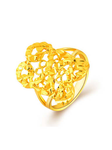 Fashion 24K Gold Plated Hollow Square Shaped Ring