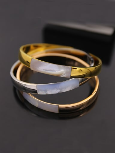 Titanium steel curved face inlaid shell  bracelet