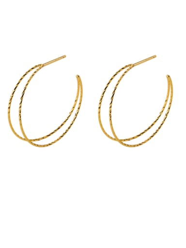 925 Sterling Silver With Grain Simplistic Irregular Hoop Earrings