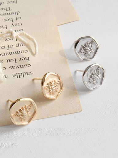 925 Sterling Silver With Champagne Gold Plated Cute Insect bee Stud Earrings