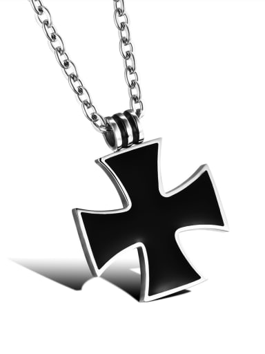 Simple Black Cross Titanium Necklace
