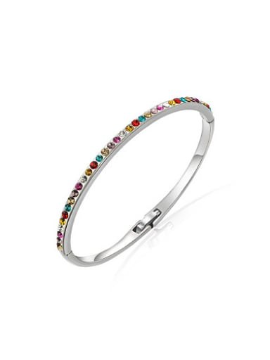 Simply Multi-color Austria Crystal Geometric Bangle