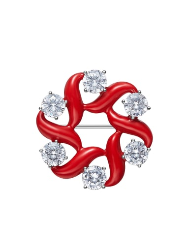 Simple Cubic Zircon Red Enamel Brooch