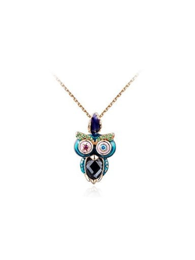 Colorful Austria Crystal Owl Shaped Necklace